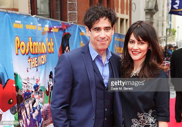 Stephen Mangan and Louise Delamere attend the World Premiere of 'Postman Pat' at Odeon West End on May 11 2014 in London England