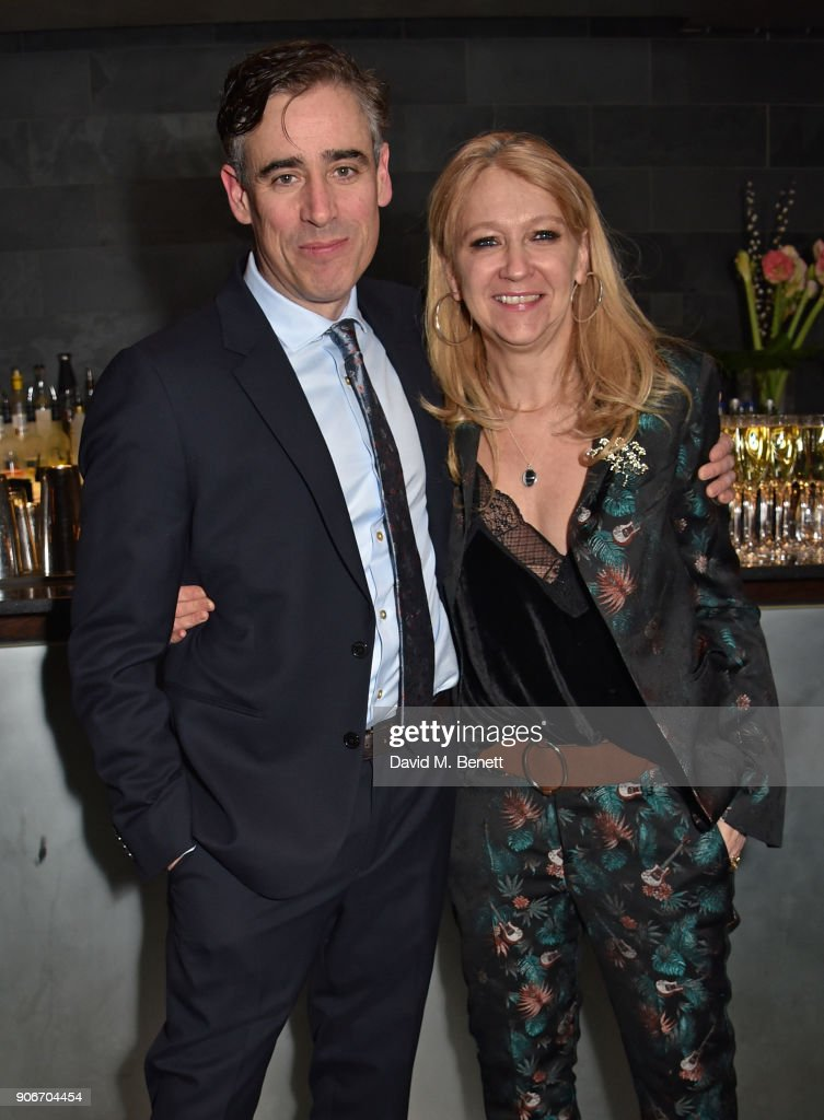 Stephen Mangan and Sonia Friedman attend the press night after party for 'The Birthday Party' at Mint Leaf on January 18, 2018 in London, England.