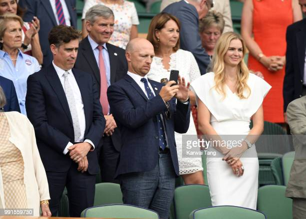 Stephen Mangan Matt Dawson and wife Carolin Hauskeller in the royal box on day three of the Wimbledon Tennis Championships at the All England Lawn...