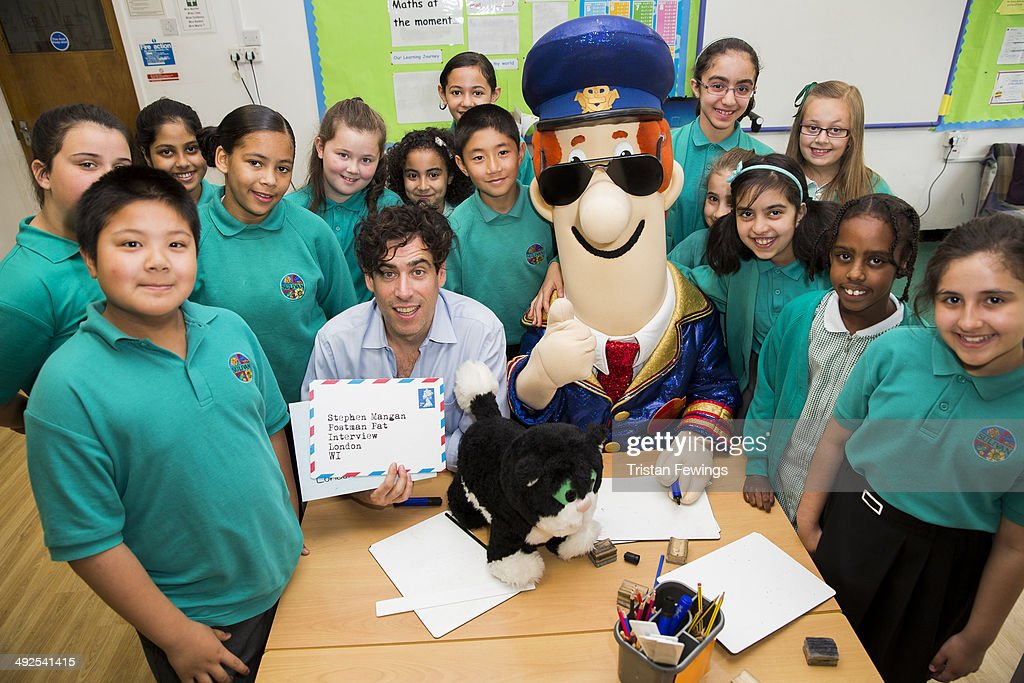 Stephen Mangan visits Sulivan Primary School for a Q & A with Postman Pat at Sulivan Primary school on May 21, 2014 in London, England.