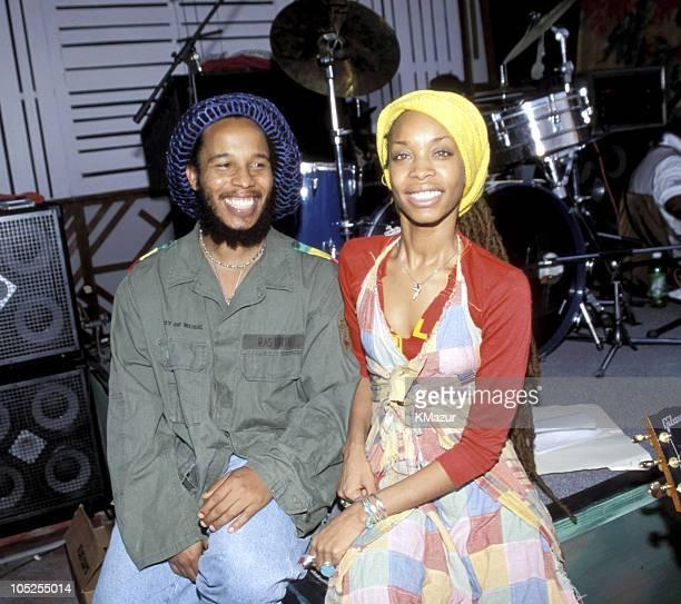 Stephen Marley and Eryka Badu during TNT Bob Marley All Star Tribute at James Bond Beach in Oracabeca Beach Jamaica Jamaica