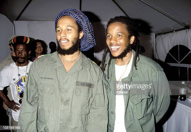 Stephen Marley and Ziggy Marley during TNT Bob Marley All Star Tribute at James Bond Beach in Oracabeca Beach Jamaica Jamaica