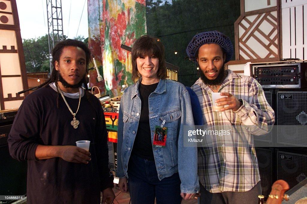 Stephen Marley & Chrissie Hynde & Ziggy Marley during One Love-The Bob Marley Tribute in Oracabessa Beach, Jamaica.