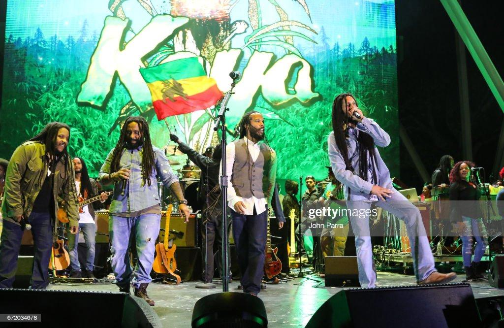 Stephen Marley, Ky-Mani Marley, Ziggy Marley and Julian Marley perform at Kaya Fest at Bayfront Park Amphitheater on April 22, 2017 in Miami, Florida.