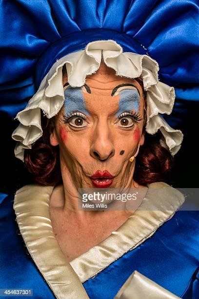 Stephen Matthews playing 'Dame' poses for a portrait during the Puss in Boots pantomime at the Hackney Empire on December 6 2013 in London England