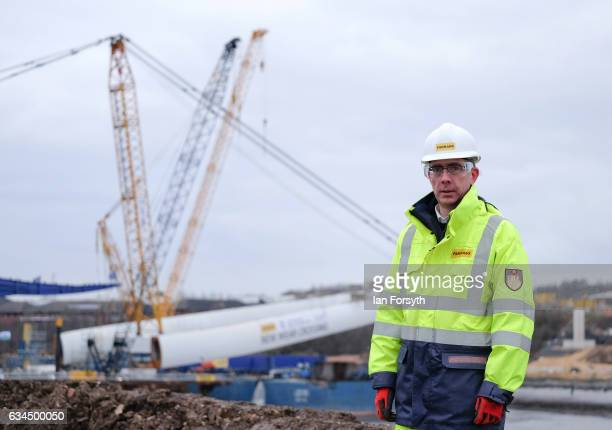 Stephen McCaffrey Project Director for Farrans Victor Buyck Joint Venture poses for the media as the final 100 metre centrepiece of Sunderland's new...