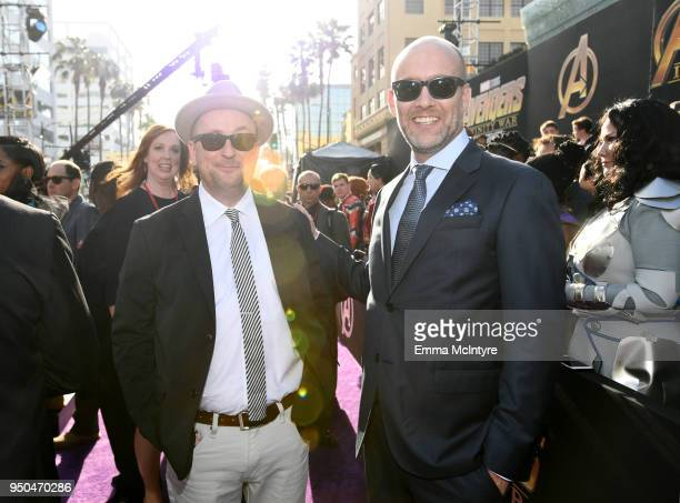 Stephen McFeely and Christopher Markus attend the premiere of Disney and Marvel's 'Avengers Infinity War' on April 23 2018 in Los Angeles California