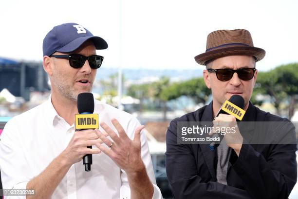 Stephen McFeely and Christopher Markus speak onstage at the #IMDboat at San Diego ComicCon 2019 Day Three at the IMDb Yacht on July 20 2019 in San...