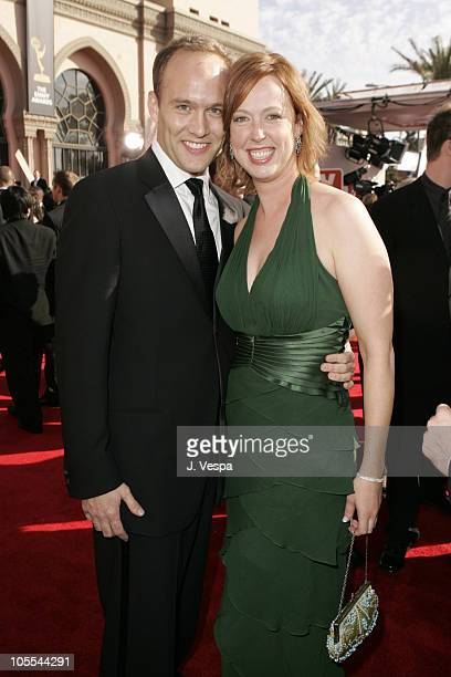 Stephen McFeely and Jennifer Cotteleer during The 57th Annual Emmy Awards Arrivals at Shrine Auditorium in Los Angeles California United States
