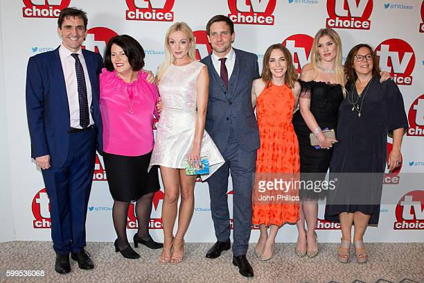 Stephen McGann guest Helen George Jack Ashton Laura Main Emerald Fennell and Annabelle Apsion arrive for the TV Choice Awards at The Dorchester Hotel...