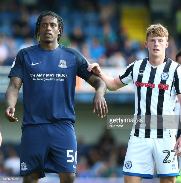 LR Stephen McLaughlin of Southend United and Nile Ranger of Southend United during Sky Bet League one match between Southend United against Rochdale...