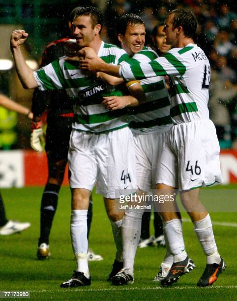 Stephen McManus of Celtic celebrates after scoring during the UEFA Champions League match between Celtic and AC Milan at Celtic Park October 3, 2007...