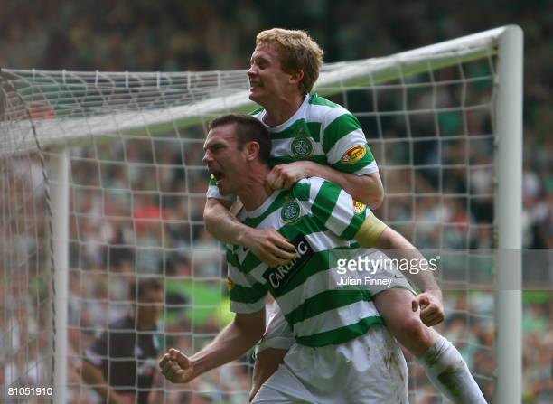 Stephen McManus of Celtic celebrates with Barry Robson of Celtic after McManus scored a header during The Clydesdale Bank Scottish Premier League...