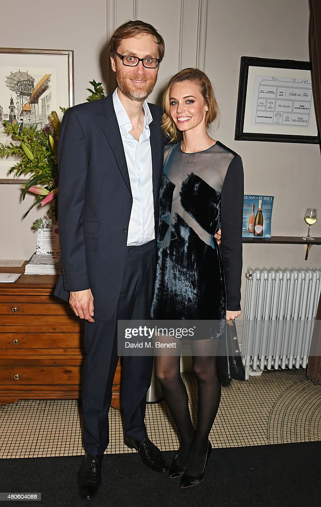 Stephen Merchant (L) and Christine Marzano attend an after party following the press night performance of 'The Mentalists' at Kettner's on July 13, 2015 in London, England.
