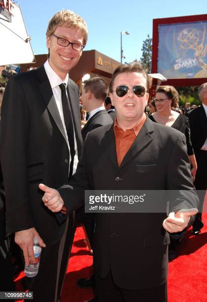 Stephen Merchant and Ricky Gervais during 58th Annual Primetime Emmy Awards Red Carpet at The Shrine Auditorium in Los Angeles California United...