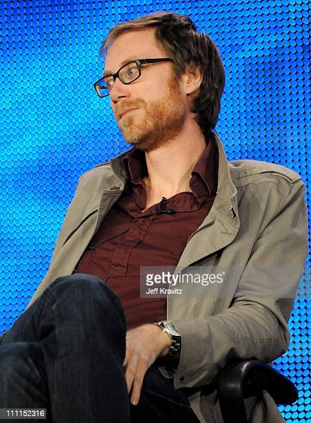 """Stephen Merchant of """"The Ricky Gervais Show"""" speaks during the HBO portion of the 2010 Television Critics Association Press Tour at the Langham Hotel..."""