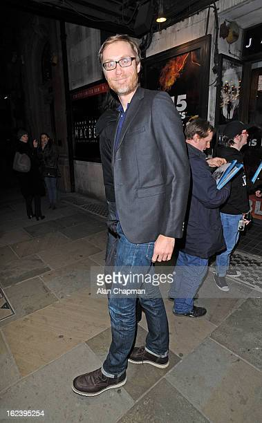 Stephen Merchant sighting at Macbeth press night Trafalgar Studios on February 22 2013 in London England