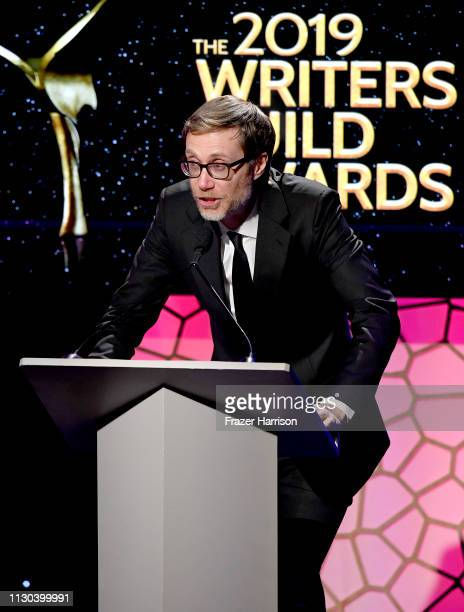 Stephen Merchant speaks onstage during the 2019 Writers Guild Awards LA Ceremony at The Beverly Hilton Hotel on February 17 2019 in Beverly Hills...
