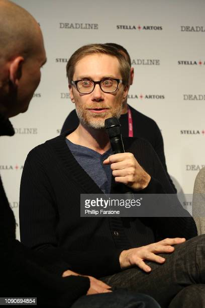 Stephen Merchant speaks onstage during the Stella Artois Deadline Sundance Series at Stella's Film Lounge A Live QA with the filmmakers and cast of...