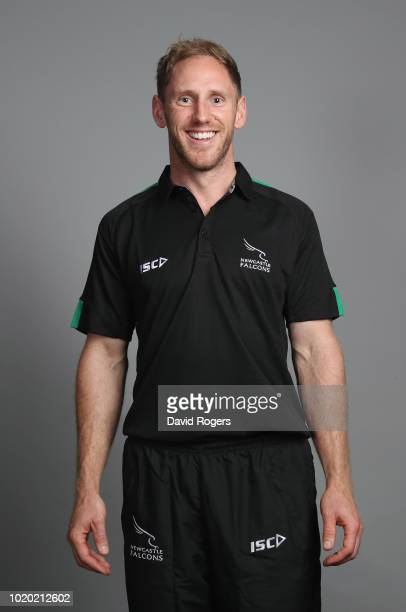 Ruaridh Dawson of Newcastle Falcons is carried by team mate Brett Connon during the Newcastle Falcons squad photo call for the 201819 Gallagher...