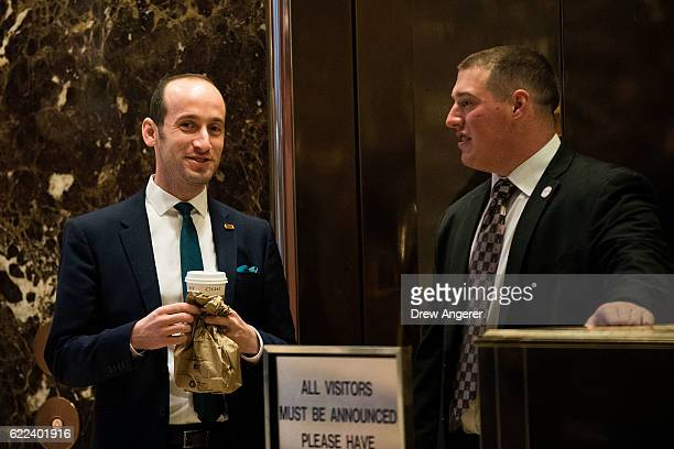 Stephen Miller policy advisor to Donald Trump is seen in the lobby of Trump Tower November 11 2016 in New York City On Friday morning Trump tweeted...