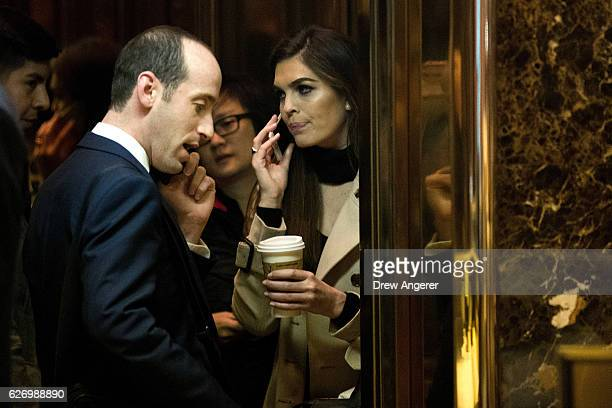 Stephen Miller policy advisor with the Trump transition team and Hope Hicks communications director with the Trump campaign arrive at Trump Tower...