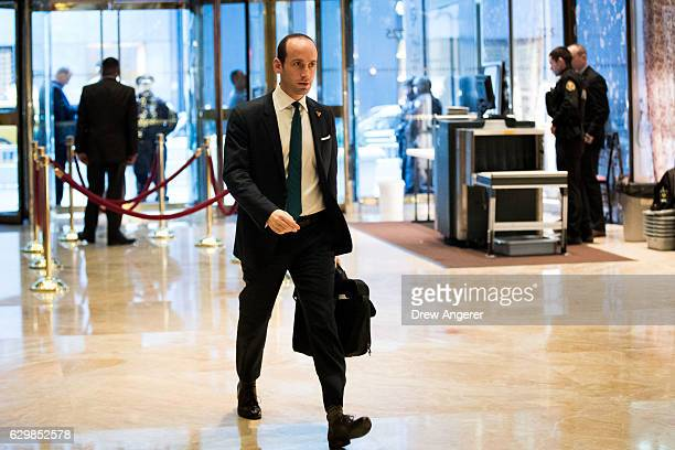 Stephen Miller recently named as senior policy advisor to Presidentelect Donald Trump arrives at Trump Tower December 14 2016 in New York City This...