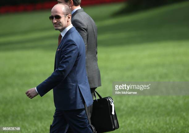 Stephen Miller senior advisor to US President Donald Trump departs the White House June 25 2018 in Washington DC Trump is scheduled to attend a...
