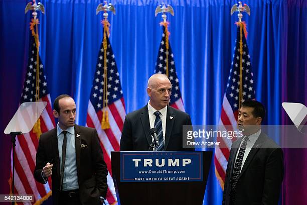 Stephen Miller senior policy advisor for the Trump campaign and Keith Schiller chief of security for the Trump campaign check the podium before...
