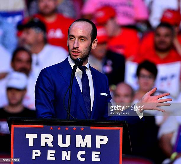 Stephen Miller speaks during Donald J Trump campaign event at the BBT Center on August 10 2016 in Fort Lauderdale Florida