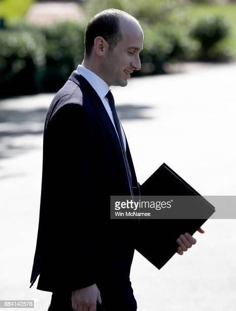 Stephen Miller US President Donald Trump's senior advisor for policy boards a waiting Marine One presidential helicopter while Trump departs the...