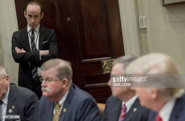 Stephen Miller White House Senior Advisor attends a meeting with US President Donald Trump and county sheriffs in the Roosevelt Room of the White...
