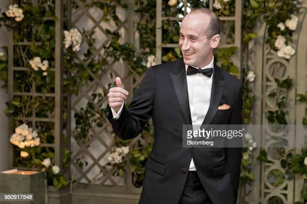 Stephen Miller White House senior advisor for policy arrives for a state dinner in honor of French President Emanuel Macron at the White House in...