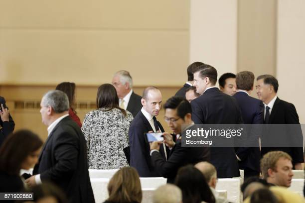Stephen Miller White House senior advisor for policy center waits for US President Donald Trump and China's president Xi Jinping to arrive for a news...