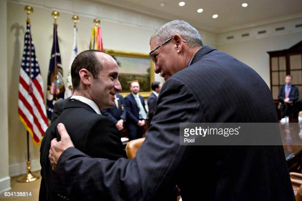 Stephen Miller White House senior advisor for policy left talks to Samuel Page sheriff from Rockingham County North Carolina before the start of a...