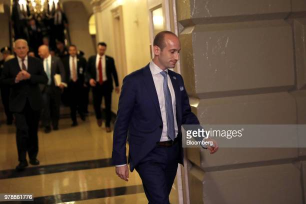 Stephen Miller White House senior advisor for policy walks to a House Republican conference meeting on immigration legislation at the US Capitol in...