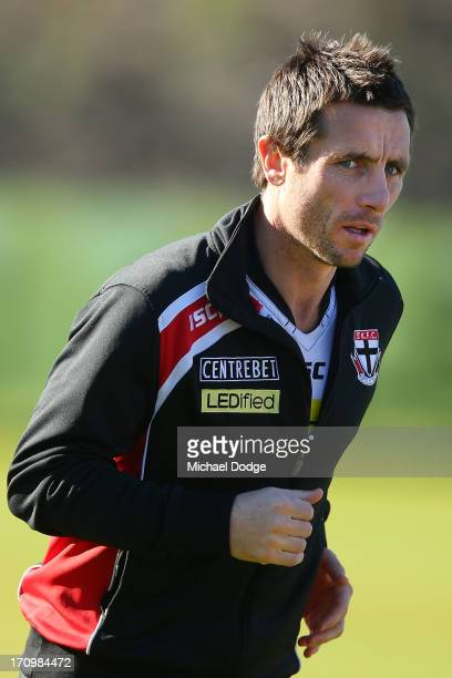 Stephen Milne looks ahead during a St Kilda Saints AFL training session at Linen House Oval on June 21 2013 in Melbourne Australia