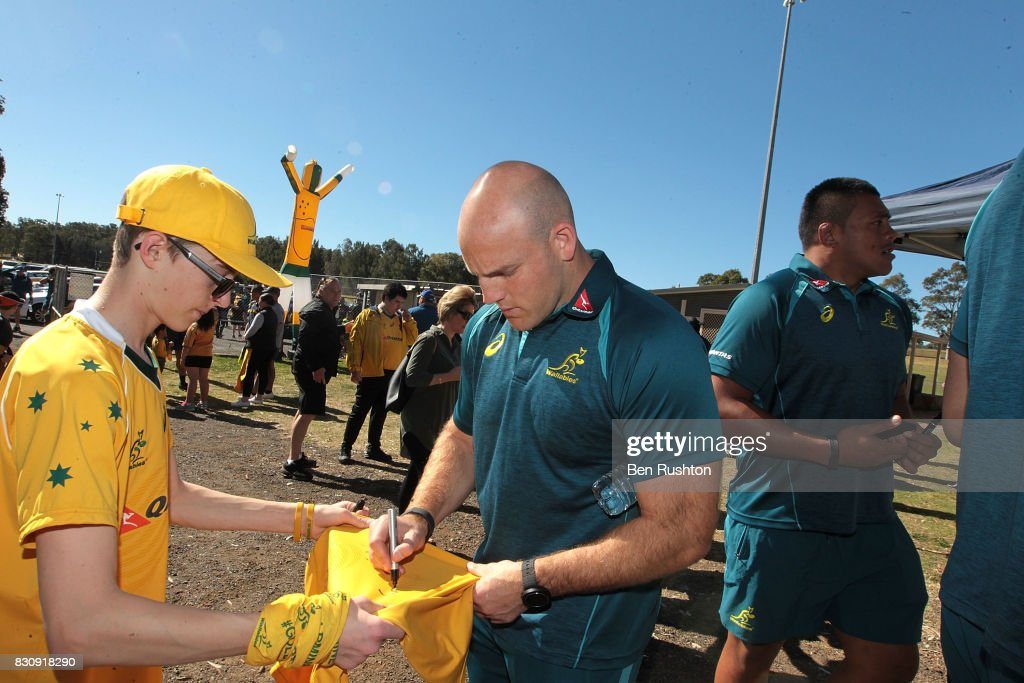 Stephen Moore does some signing during an Australian Wallabies fan day on August 13, 2017 in Penrith, Australia.