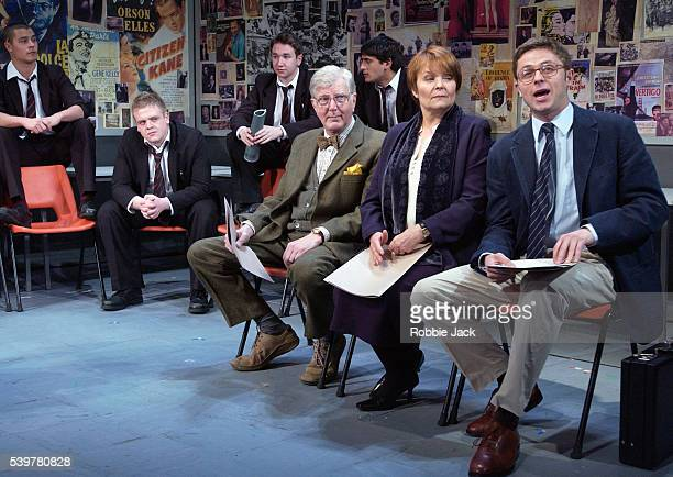 Stephen Moore , Isla Blair , Orlando Wells with members of the cast in the production The History Boys at Wyndham's Theatre.