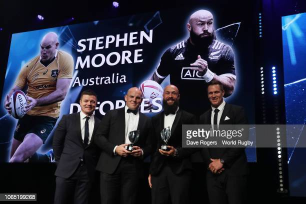 Stephen Moore of Australia and DJ Forbes of New Zealand receive the International Rugby Players Special Merit award from Brian O'Driscoll and Jean de...