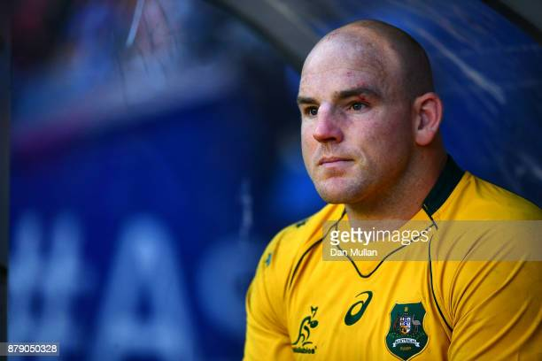 Stephen Moore of Australia looks on from the dugout after being substituted in his final test match during the International match between Scotland...