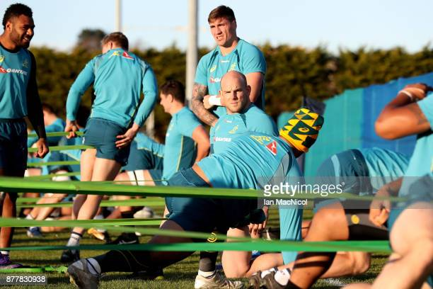 Stephen Moore of Australia takes part in training during Australia media access ahead of the international match between Scotland and Australia on...