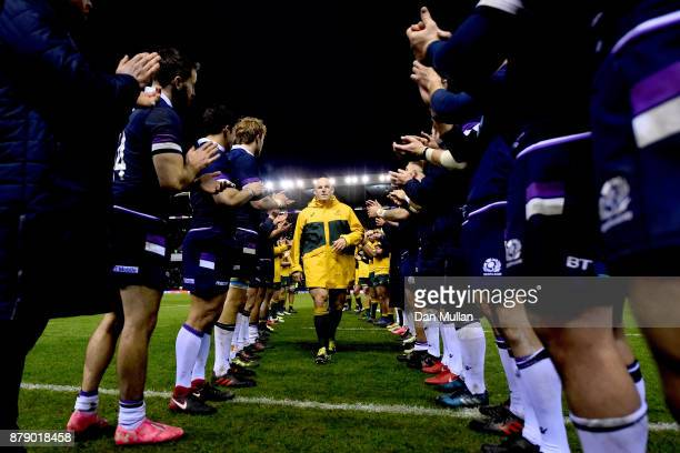 Stephen Moore of Australia walks through a guard of honor after the international match between Scotland and Australia at Murrayfield Stadium on...