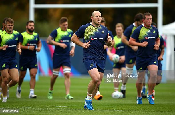 Stephen Moore of Australia warms up with his team mates during a training session at The Lensbury Hotel on October 23 2015 in London United Kingdom