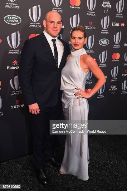Stephen Moore of the Australian Wallabies and his wife Courtney attend the World Rugby Awards 2017 in the Salle des Etoiles at MonteCarlo Sporting...