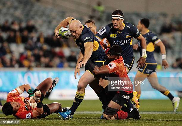 Stephen Moore of the Brumbies is tackled during the round 14 Super Rugby match between the Brumbies and the Sunwolves at GIO Stadium on May 28, 2016...