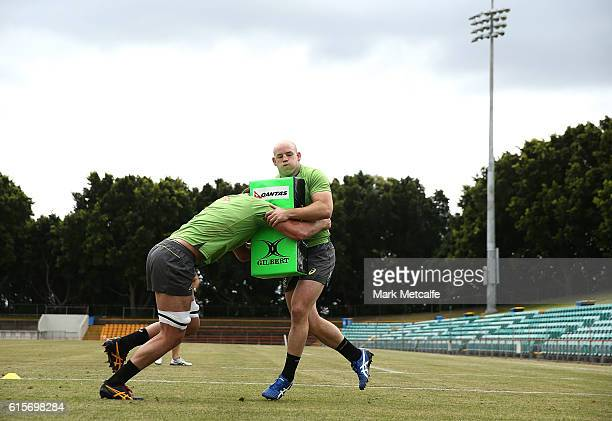Stephen Moore of the Wallabies is tackled during an Austalian Wallabies training session at Leichhardt Oval on October 20 2016 in Sydney Australia