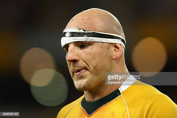 Stephen Moore of the Wallabies looks dejected after losing the International Test match between the Australian Wallabies and England at Suncorp...