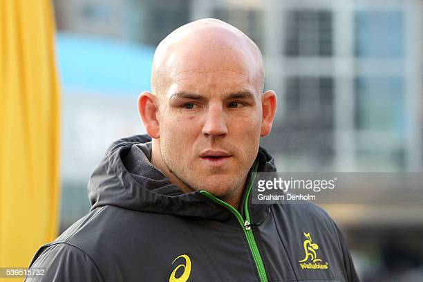 Stephen Moore of the Wallabies looks on during the Australian Wallabies Fan Day at The Crown Promenade River Walk on June 12 2016 in Melbourne...