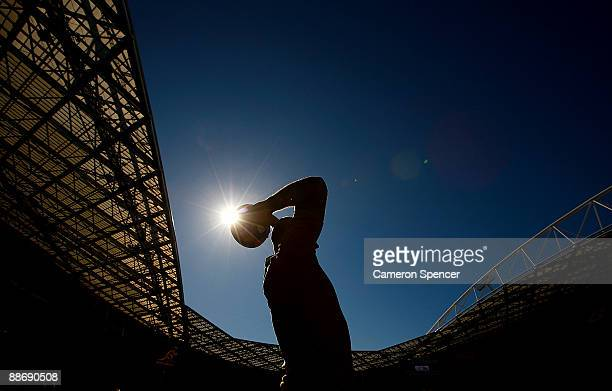 Stephen Moore of the Wallabies practices his lineout throws during the Australian Wallabies Captain's run at ANZ Stadium on June 26 2009 in Sydney...
